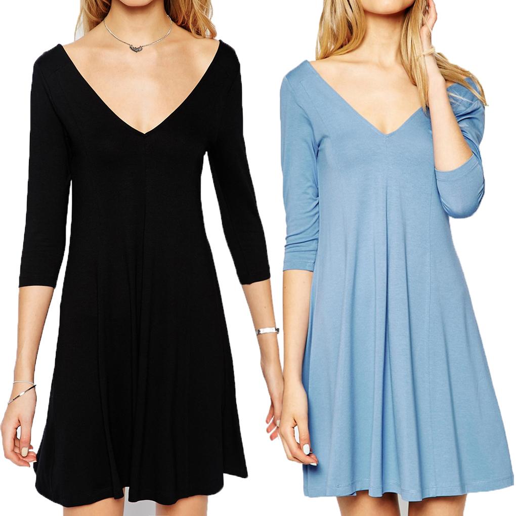 Women V Neck Knit Fitted Long Sleeve Shirt Basic Dress Mini Dress Black/Sky Blue Affordable(China (Mainland))