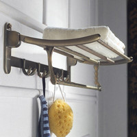 Foldable Bathroom towel rack holder doubl tier antique brass storage wall shelf with hook bathroom accessories