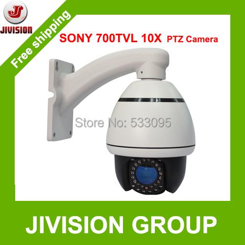 10X 700TVL SONY CCD mini PTZ camera 30pcs IR LED wall ceiling bracket mounting high Speed Dome PTZ Camera DHL EMS free shipping(China (Mainland))