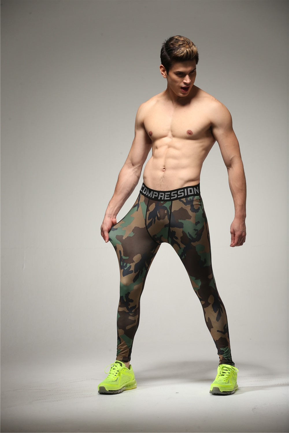 Wholesale-Mens Running Camo Base Layer Fitness Jogging Compression ...