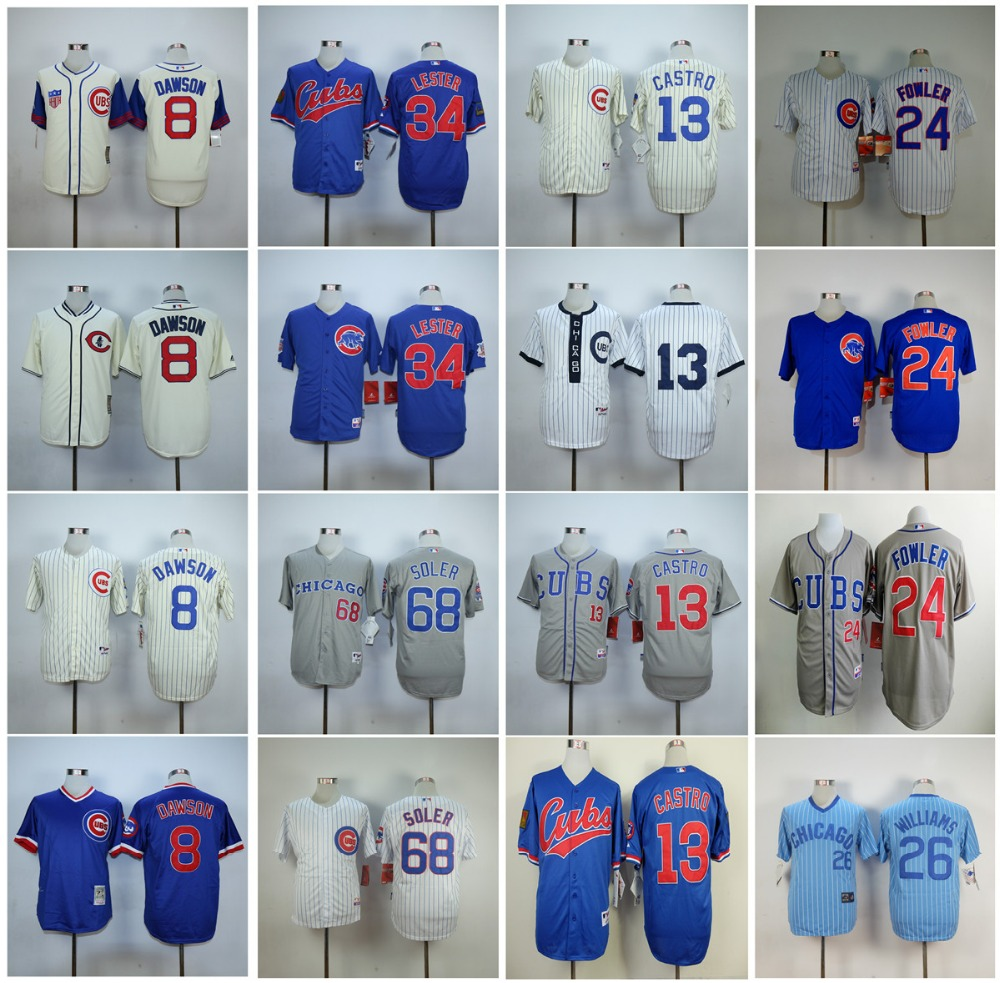 Chicago Cubs Andre Dawson Dexter Fowler Dexter Fowler Starlin Castro Throwback Cool Base Jerseys(China (Mainland))