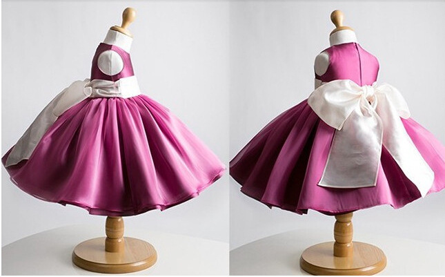 2015 new girls summer dresses Chirstmas Kids Girl Dress Baby Girl Princess Clothing Dress With Bow Girl Formal Party Dress(China (Mainland))