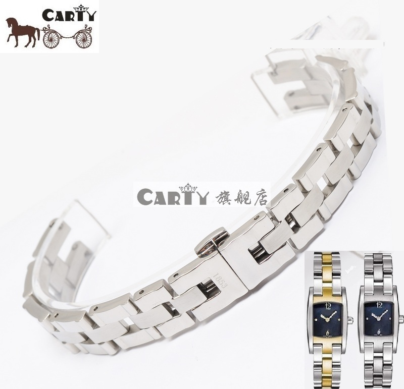 Carty Strap Hours Watch 12.5*4 Band T042 Female Silver Solid Stainless Steel Bracelet