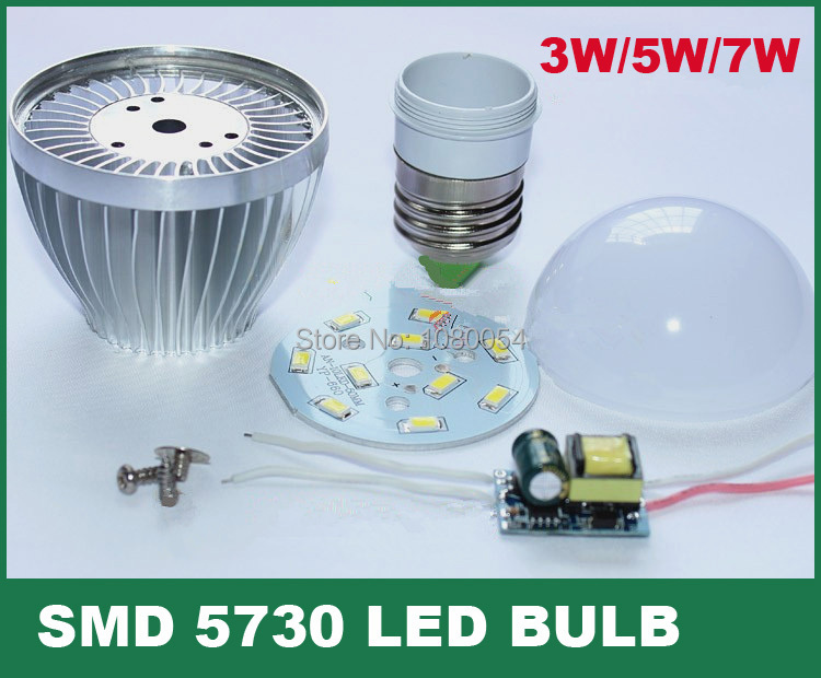 LED bulb lamp accessories 3w 5w 7w 9w E27 B22 E14 DIY Aluminum shell kit + IC driver+SMD5730 PCB LED parts for bulbs improved(China (Mainland))