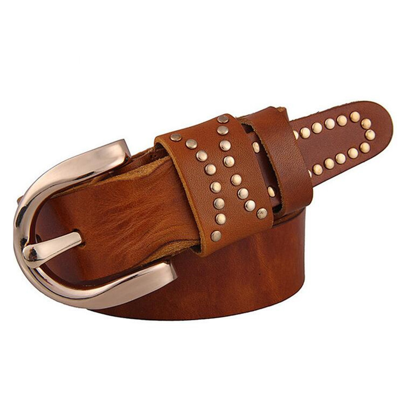 Brand quality Italy imported leather belt fashion retro rivets belt men women first layer of Cowhide leather belt ladies belt(China (Mainland))