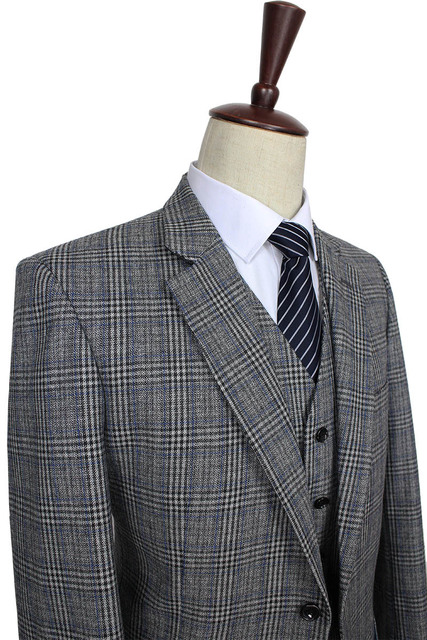 2016 на заказ мужской костюм шерсть серый традиционный твидовые ретро британский ...