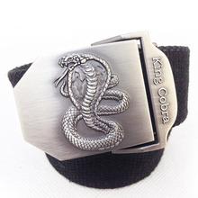 Buy king cobra 2017 designer fashion men casual belt canvas military jeans mens Metal buckle belt 110 120cm black stripe army green for $7.13 in AliExpress store