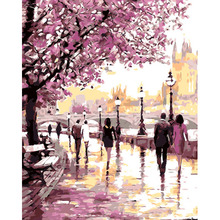 Frameless Cherry Blossoms Road Diy Oil Painting By Numbers Kits Wall Art Picture Home Decor Acrylic Paint On Canvas For Artwork(China (Mainland))