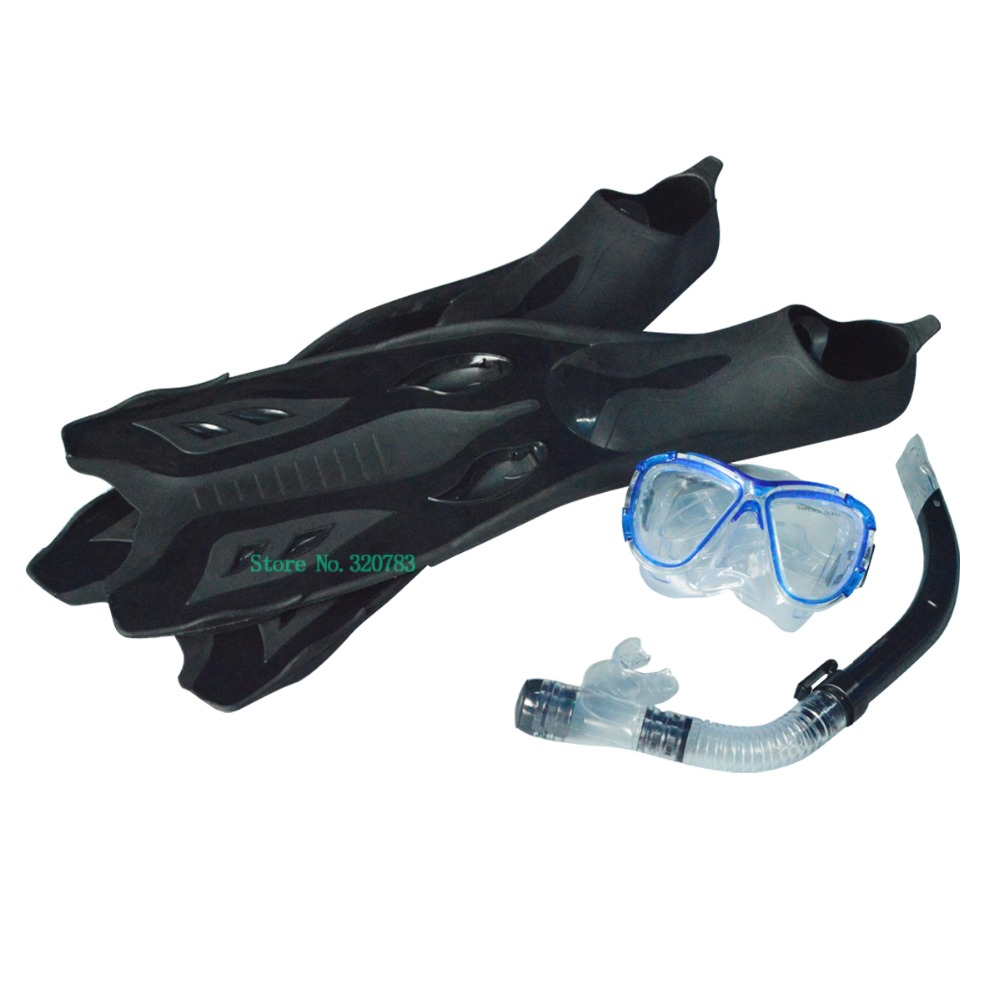 Diving mask + full semi dry Snorkel + Diving Fins set equipment device Diving kits for swimming diving equipment(China (Mainland))