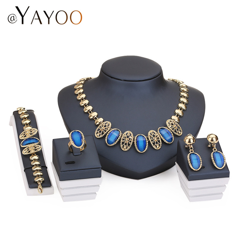 Necklace Ring Bracelet Earrings Gold Plated Fine Jewelry Sets For Women Brida