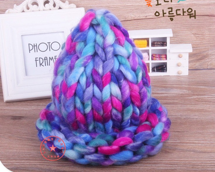 Гаджет  Winter monochromatic warm knit cap Thick stick knitting mixed color winter hats for women beanies wholesale None Одежда и аксессуары