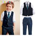 Gentleman Toddler Boy Clothing Wedding Clothes Children suit Kid Vest Shirt Pant Tie 3pcs set 2