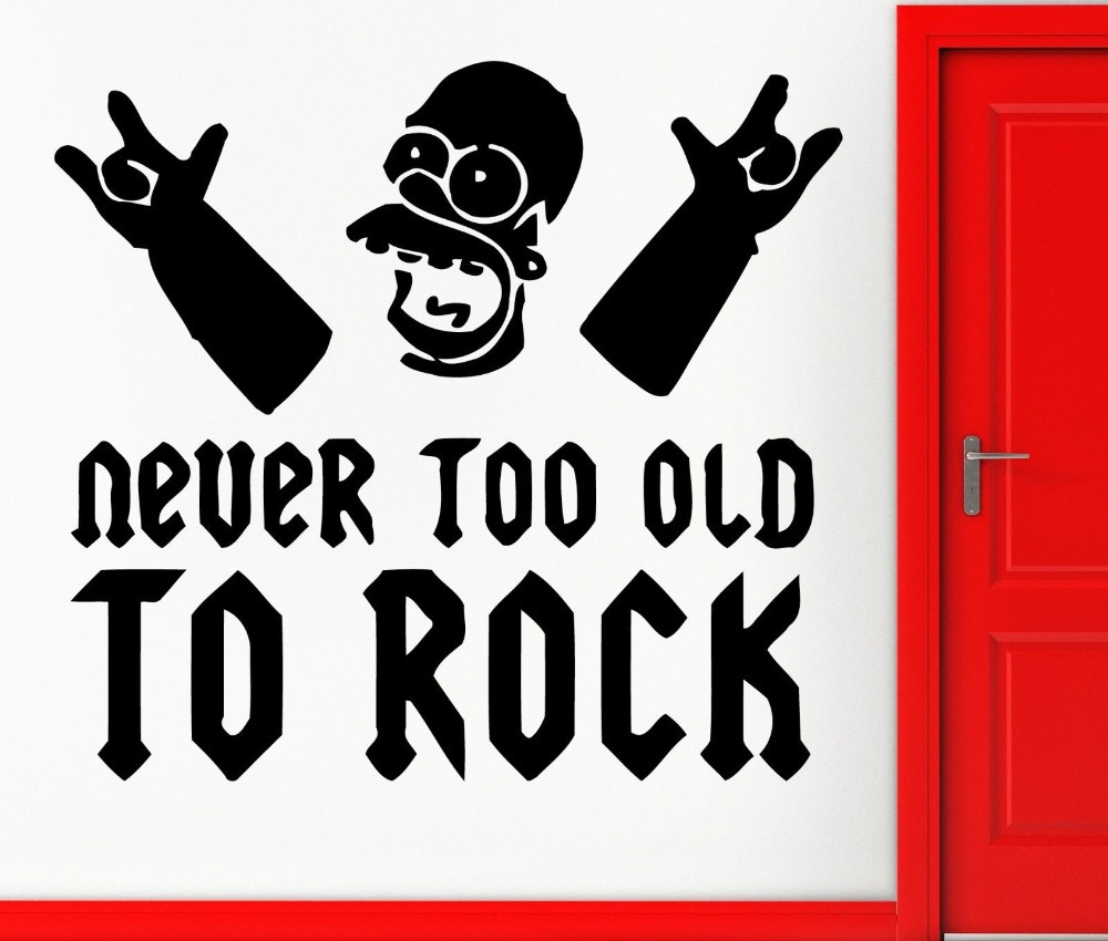 Wall Stickers Vinyl Decal Music Funny Never Too Old To Rock Decor