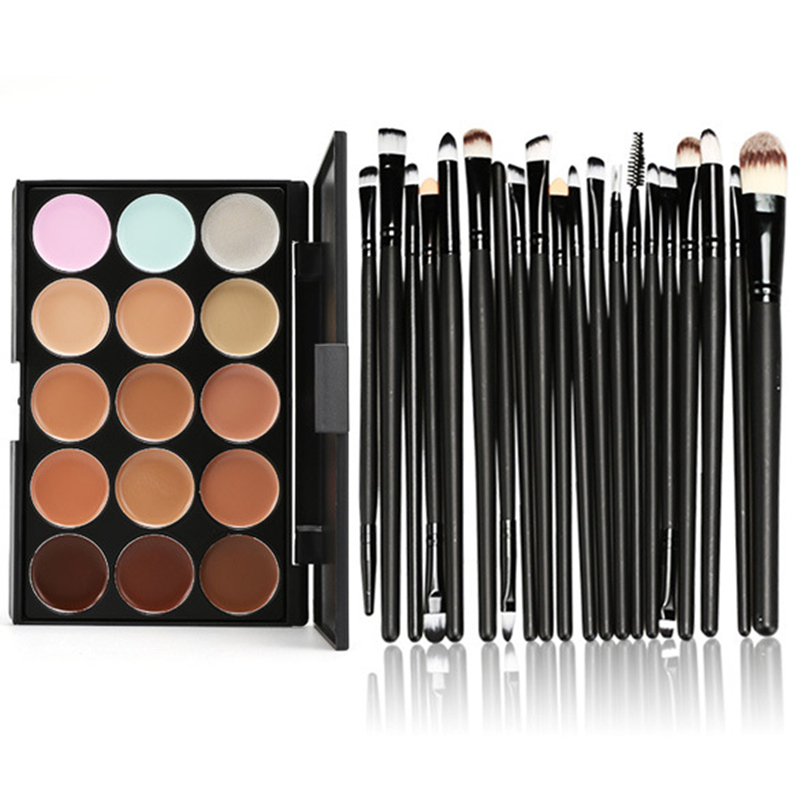 Concealer Foundation Cream 15 Colors+Eye Makeup Brush 20pcs Facial Concealer Palette Makeup Set Maquiagem