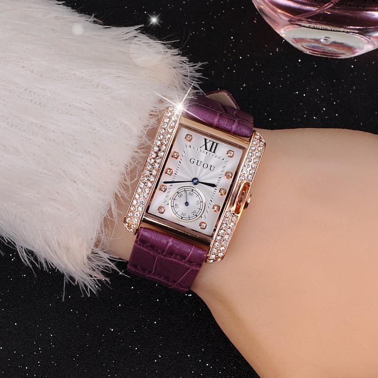 The latest fashion with a big Purple Diamond Ladies Watch Europe British style belt Watch<br><br>Aliexpress