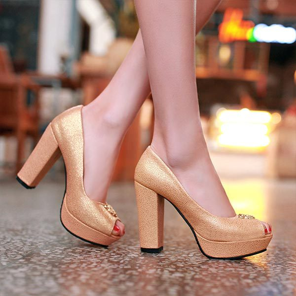 2015 Summer New High Quality Thick High Heels Shoes Open Toe Korean Female Pumps Gold silver Color Peep Toe Platform Pumps V566<br><br>Aliexpress