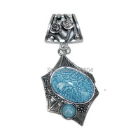 10pcs/lot, high quality Wholesale blue stone Woman Vintage Jewelry Rose Scarf slide Pendent Scarves Accessories Factory Supply