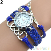 Vintage Eight Love Charm Leather Band Bracelet WristWatches 2DGV