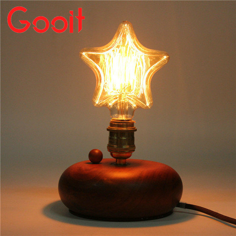 Edison Incandescent Filament Light Retro Vintage Lamp Star/Heart Shape Bulb 220V E27 40W