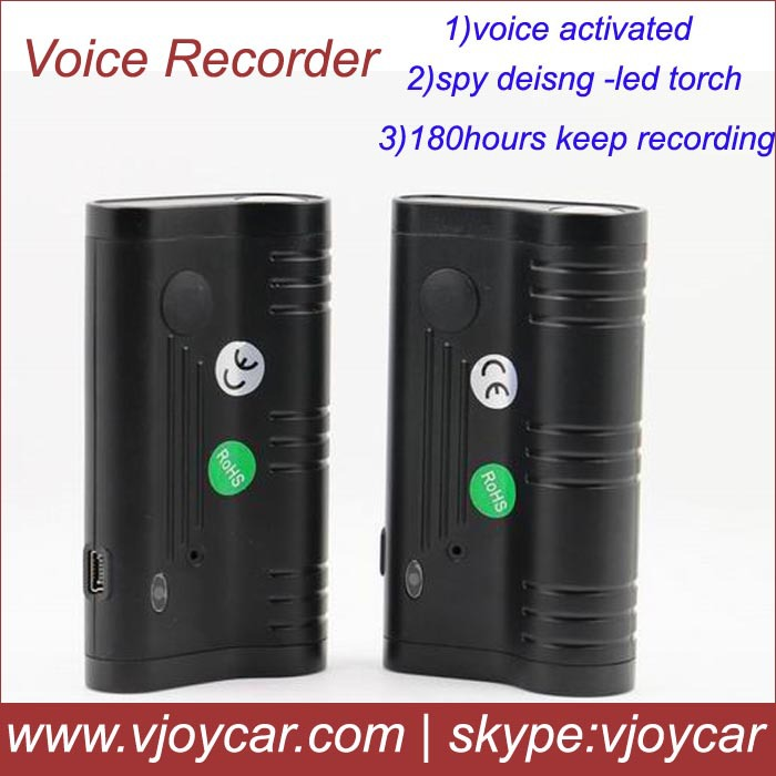 FREE shipping!Digital voice reocrder LED flash light with 8G memory, voice activated function and 3 months long recording time!(China (Mainland))