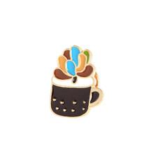 In vaso Pianta di Cactus Dello Smalto Spilli del Metallo Bello Distintivi e Simboli Spilla D'epoca Spille Per I Monili Delle Donne Collare Risvolto Accessori(China)