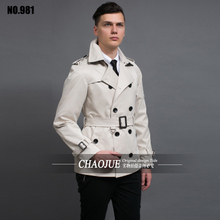CHAOJUE New Men's Trench Coat England Quality Beige Trenchcoat Plus Size 3XL Mens Trench Coat  Male Slim Fit Jacket For Gift(China)