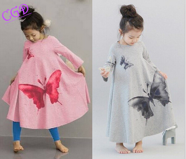 Autumn children font b clothing b font dress for font b girl b font Full butterfly