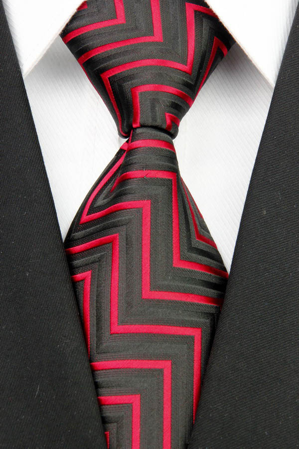 ST007 Fashion Jacquard Woven Silk Smooth Tie Gravata Black Red Stripes Neckties For Man Casual Business
