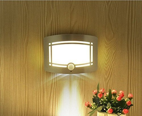 Aluminum Battery Operated IR Motion Sensor LED Wall Night Light (White)<br><br>Aliexpress