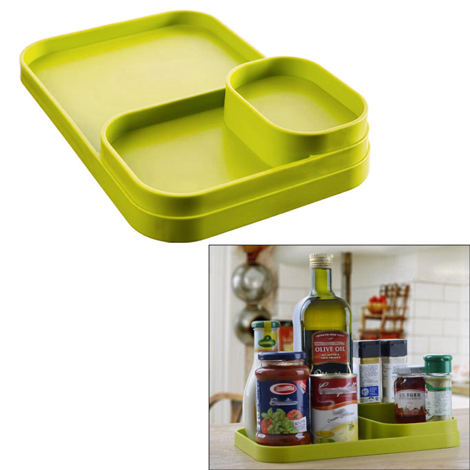 Plastic Multifunctional Multipurpose Box Organizer Kitchen Tabletop Spice Bottle Condiment Tray Slip Seat Kitchen Supplies Green(China (Mainland))
