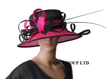 Fuschia hot pink Sinamay Hat/ formal hat/dress hat with  ostrich feather for wedding races church.