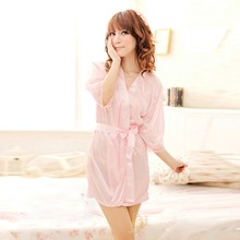 Women's Sleepwear Robes Bathrobes+G-string Thongs Solid Color Satin Lingerie Nightdress(China (Mainland))