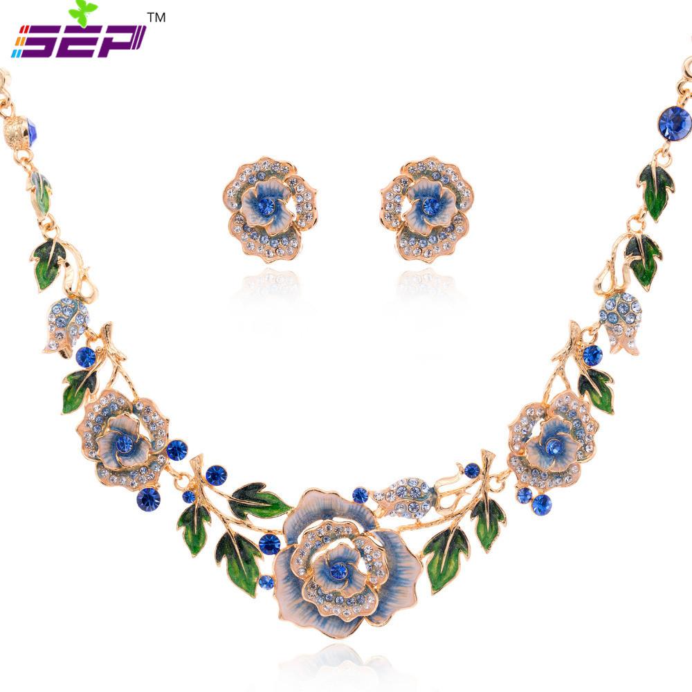 Blue Enamel Jewelry Sets Women Luxurious Austrian Crystal Flower Bud Rose Necklace Earrings Set 14k Gold Plated SNA3245