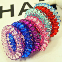 Free Shipping 10Pcs lot Fashion Cute Candy Color Hair Jewelry Headbands Telephone Line Hair Rope For
