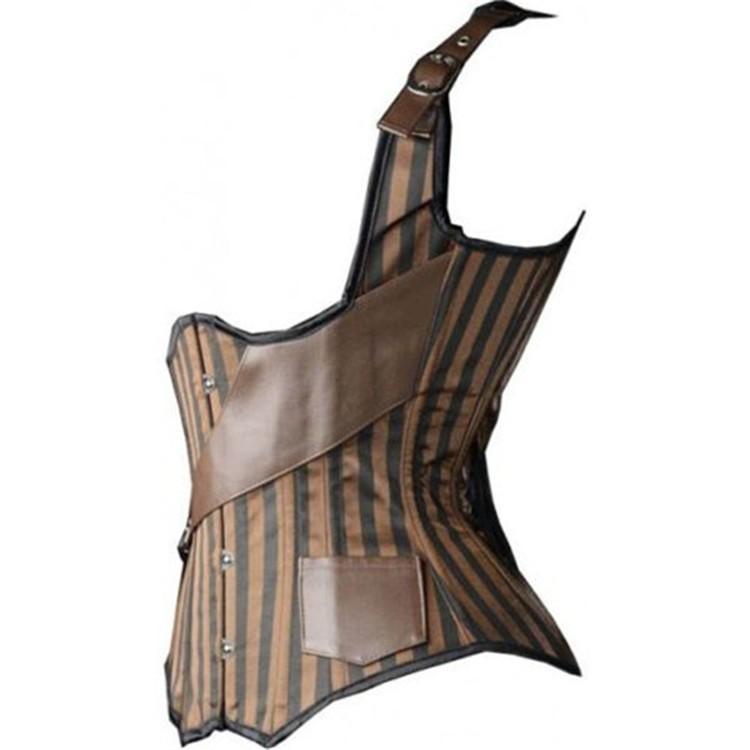 Кожа стимпанк корсет стали костяком корсеты и бюстье полосой вышивки талия обучение корсет жилет корсетные