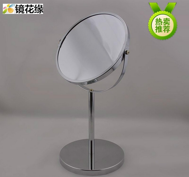 Bath Mirrors 7 inch desktop makeup mirror 2 times the magnifying glass double metal bathroom mirror(China (Mainland))