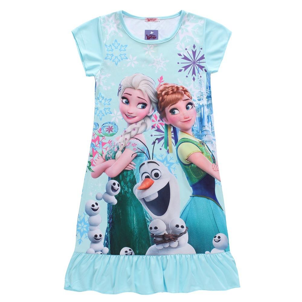 New design Frozen Nightgown Rapunzel snow white sofia princess Pajamas Dress Kids elsa anna Sleepwear Girl Frozen Clothes 3-10T(China (Mainland))
