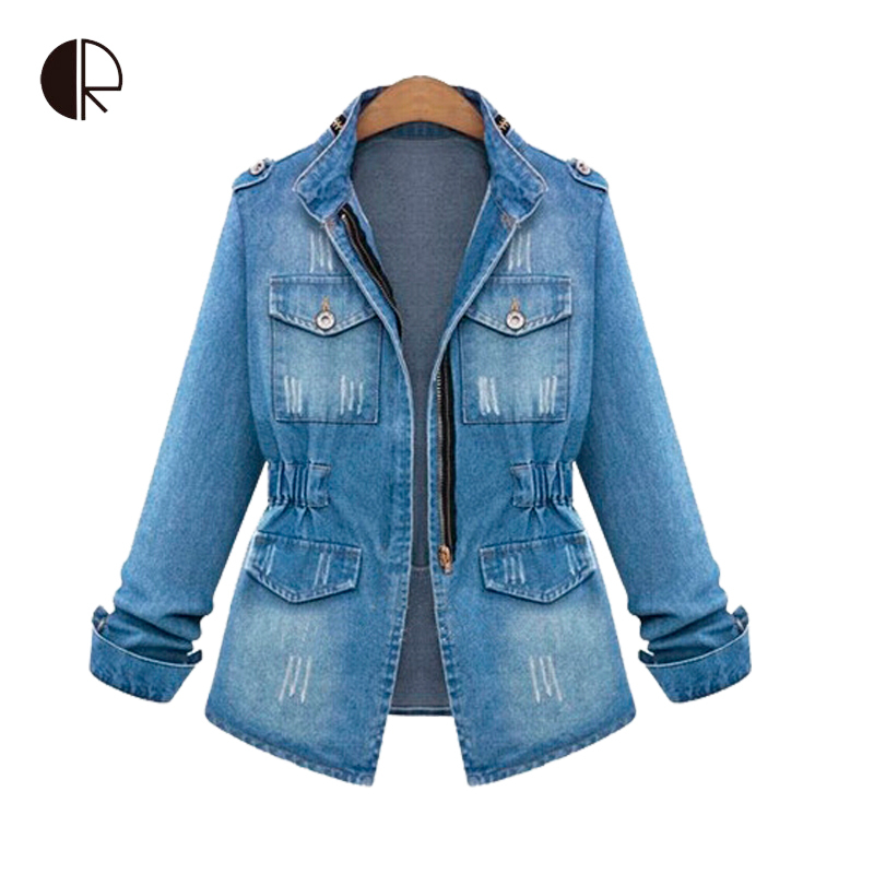 Women 2015 Spring New Fashion Long Sleeve Slim Jeans Jacket Female Casual All-Match Zipper Bleached Denim Coat Outerwear Jackets(China (Mainland))