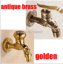 Free Shipping Wall Mount Antique Brass Mop Pool Taps Brass Gold-plate Washing Machine Faucet(China (Mainland))