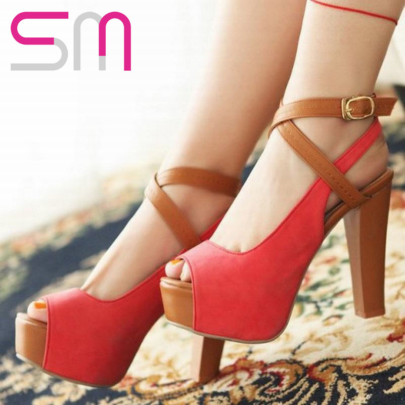 new arrival size 34-43 fashion sexy high heels platform square heel buckle strap open toe summer sandals for women 2016 <br><br>Aliexpress