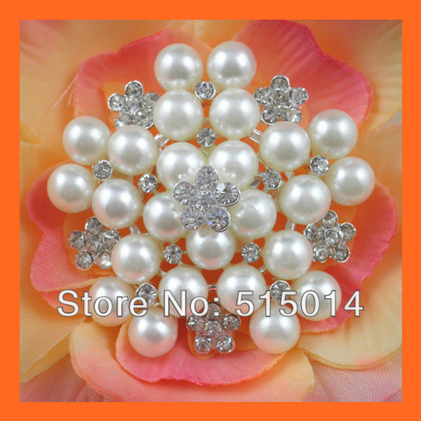 Free Shipping ! 100pcs/lot 47mm Pearl&Rhinestone brooch pins ,Rhinestone Embellishment ,silver color ,Wedding bouquet brooch