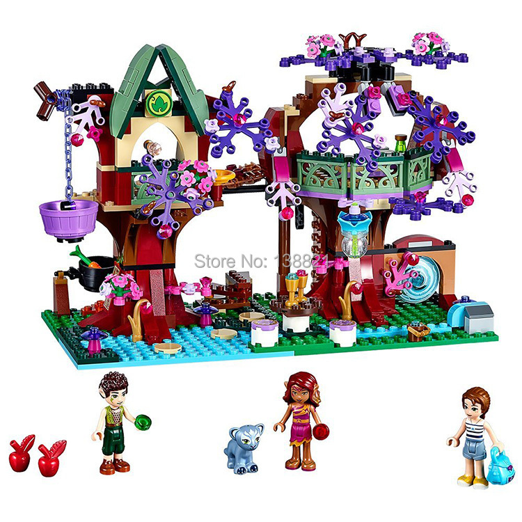 Toys for children girl CHINA BRAND 10414 self-locking bricks Compatible with LEGO Elves The Elves' Treetop Hideaway 41075