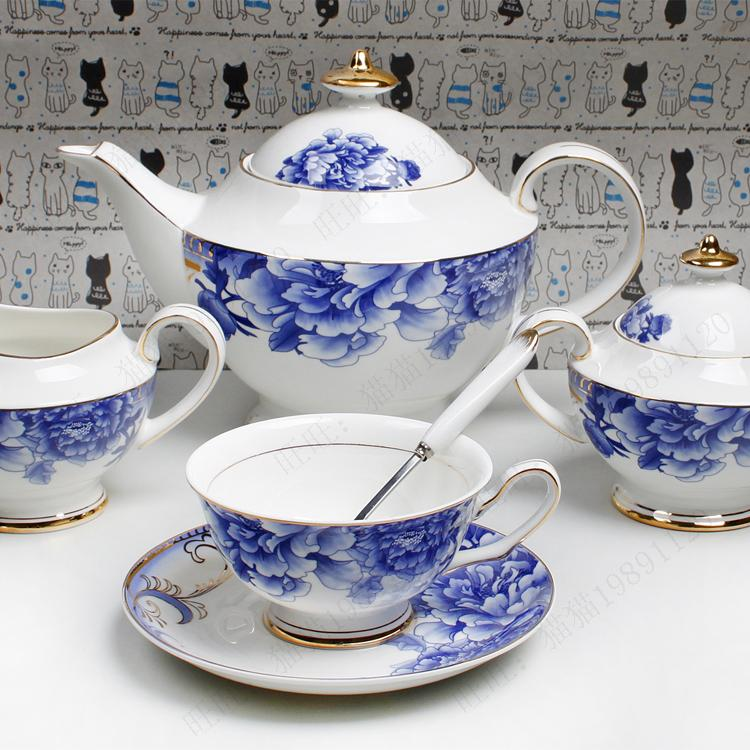 Fashion ceramic 15 coffee set blue and white porcelain coffee cup and saucer glaze classical blue