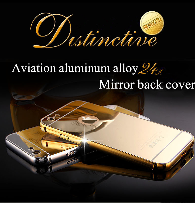 Luxury Mirror Aluminum Phone Case For iPhone 6 6S 4.7 inch Metal Frame Ultra Slim Acrylic Back Cover For iPhone 6S/6 Plus 5.5''(China (Mainland))