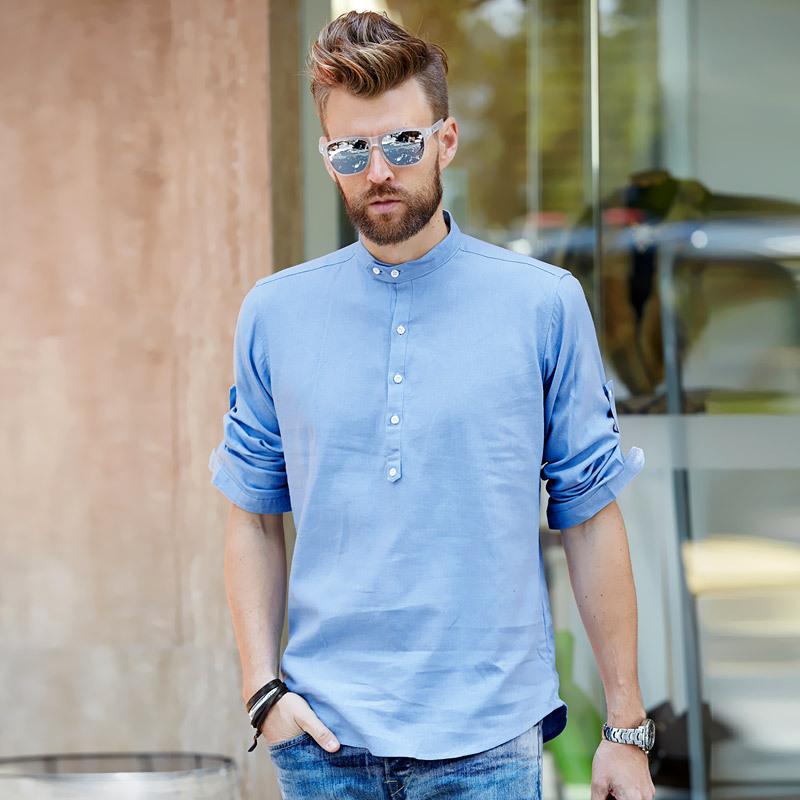 New 2015 Summer Style Fashion Men's Casual Linen Shirt Mandarin Collar 3/4 sleeve Slim Fit Cool Shirts for Men Man Plus Size 3XL(China (Mainland))