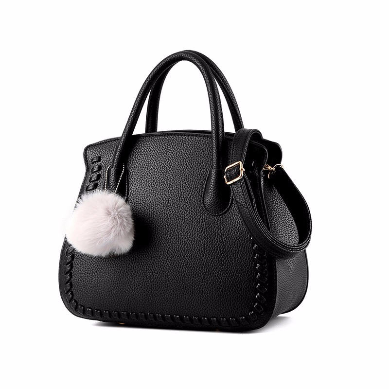 Knitting Edges Sweet Style Ladies Handbag Women Chic Shoulder Bag PU Leather Ladylike Crossbody Bag Fur Ball Ornament