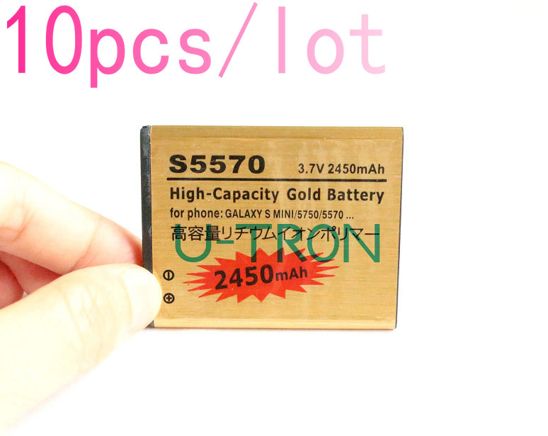 10pcs/lot 2450mAh Gold Replacement Battery For Samsung Galaxy S mini S5570 5750 S5250 S5330 S5578 S5750 S5750E S7230 Batteries(China (Mainland))