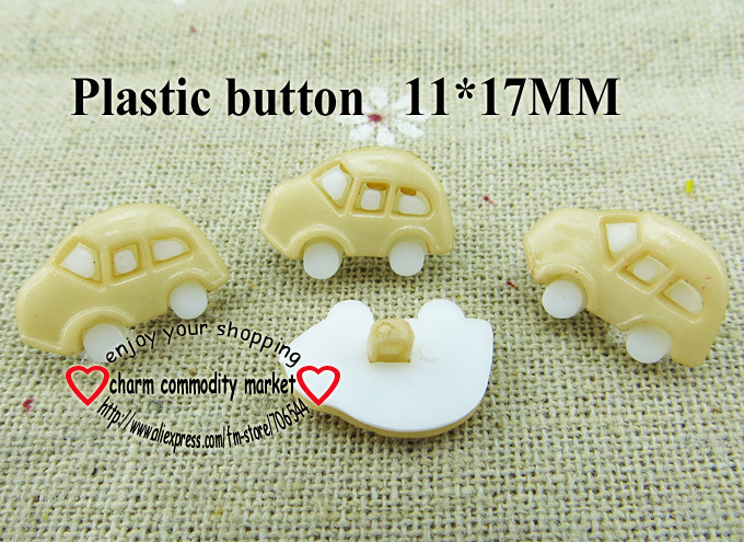 50PCS car shape brown Dyed Plastic cartoons buttons coat boots sewing clothes accessories P-078-11(China (Mainland))