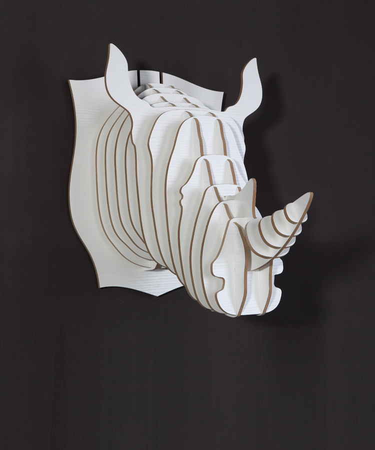 Free shipping diy mdf craft for home decoration rhino for Animal head wall decoration