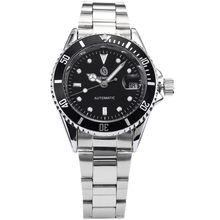 Sewor Classic negro elegante Mens mecánico automático fecha Winding Display plata correa de acero inoxidable Dial negro reloj de pulsera